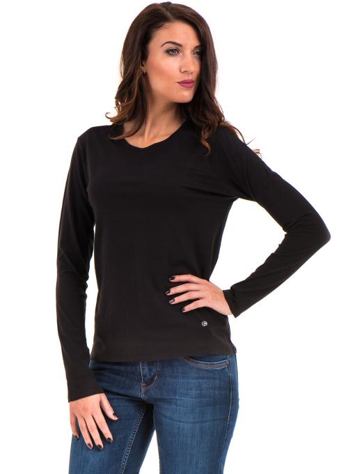 Дамска блуза с овално деколте XINT 092 - черна