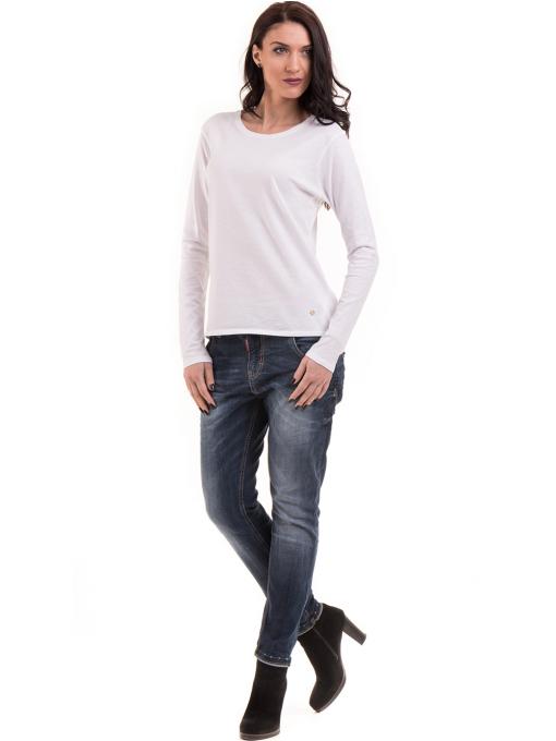 Дамска блуза с овално деколте XINT 092 - бяла C