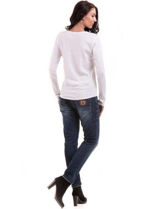 Дамска блуза с овално деколте XINT 092 - бяла E