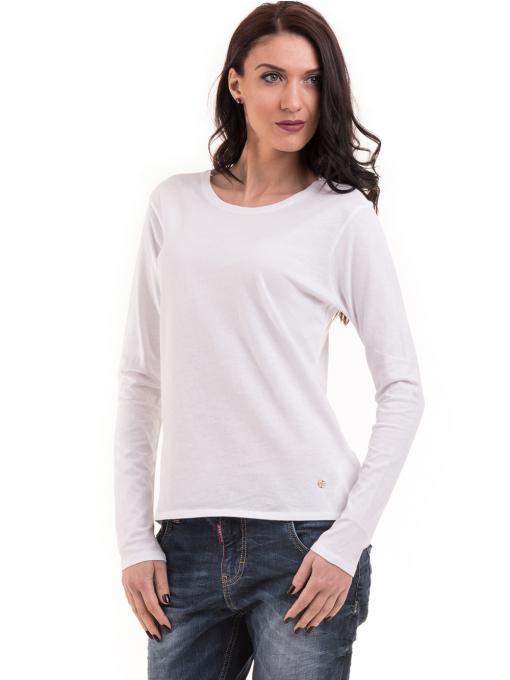 Дамска блуза с овално деколте XINT 092 - бяла
