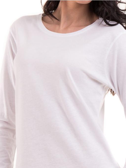 Дамска блуза с овално деколте XINT 092 - бяла D