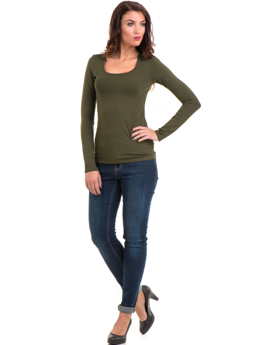 Дамска вталена блуза XINT 093 - цвят каки C