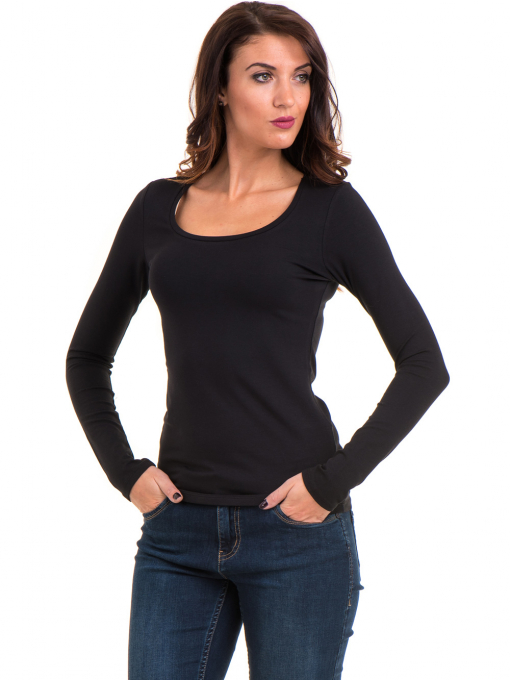 Дамска блуза вталена XINT 093 - черна