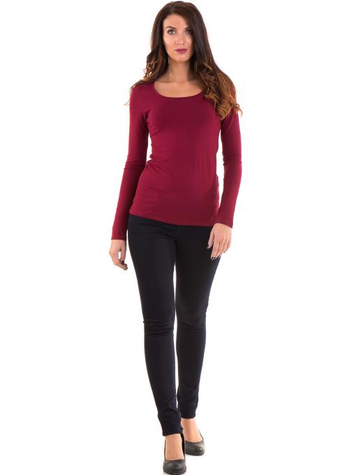 Дамска вталена блуза XINT 093 - цвят бордо C