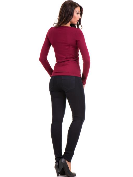 Дамска вталена блуза XINT 093 - цвят бордо E
