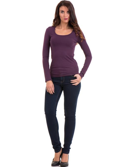 Дамска вталена блуза XINT 093 - тъмно лилава C