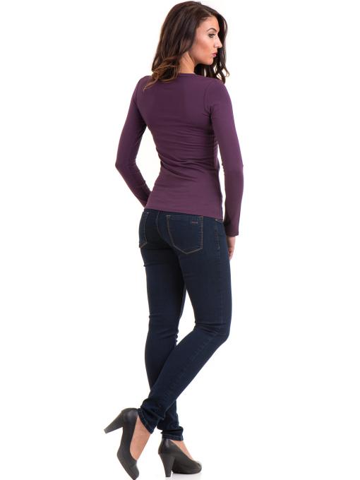 Дамска вталена блуза XINT 093 - тъмно лилава D
