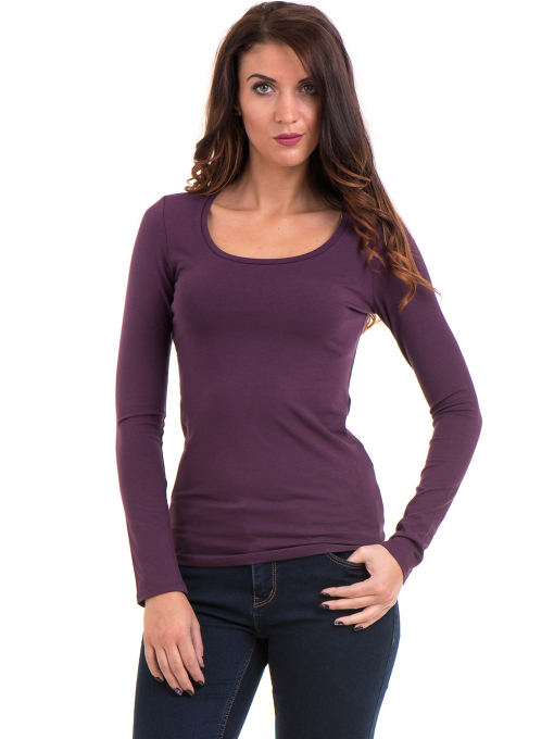Дамска вталена блуза XINT 093 - тъмно лилава