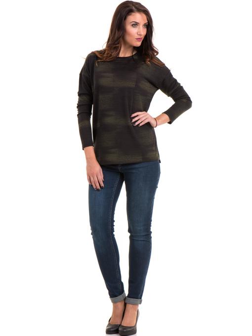 Дамска блуза свободен модел XINT 096 - цвят каки C