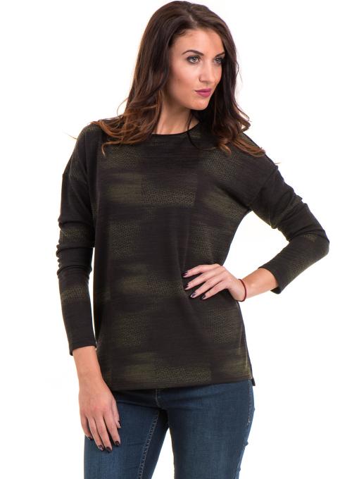 Дамска блуза свободен модел XINT 096 - цвят каки