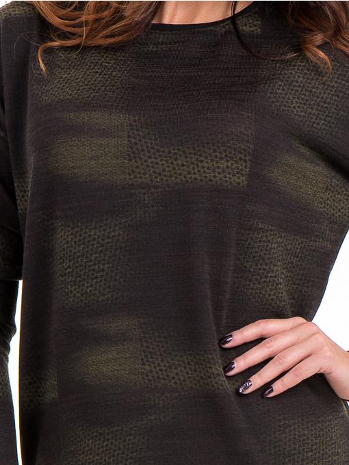 Дамска блуза свободен модел XINT 096 - цвят каки D