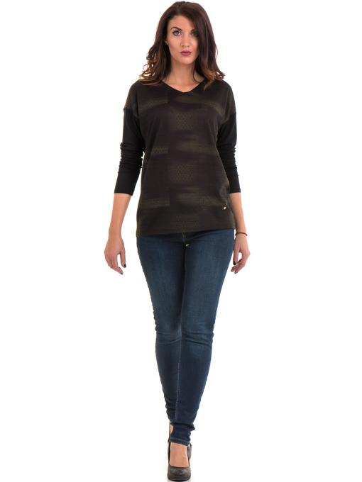 Дамска блуза с V-образно деколте XINT 099 - цвят каки C