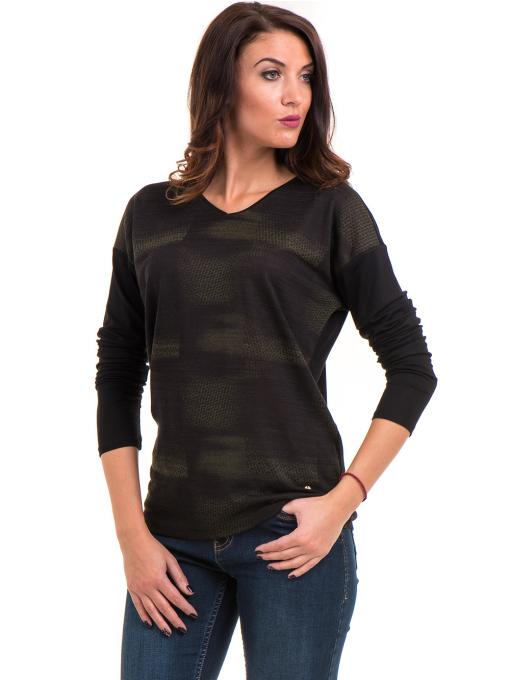 Дамска блуза с V-образно деколте XINT 099 - цвят каки