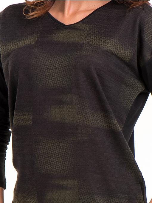 Дамска блуза с V-образно деколте XINT 099 - цвят каки D