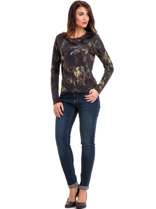 Дамска блуза с абстрактна шарка XINT 100 - цвят каки C