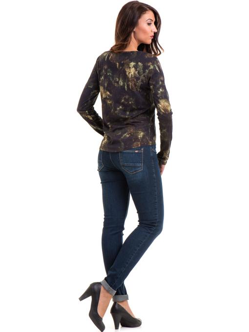 Дамска блуза с абстрактна шарка XINT 100 - цвят каки E