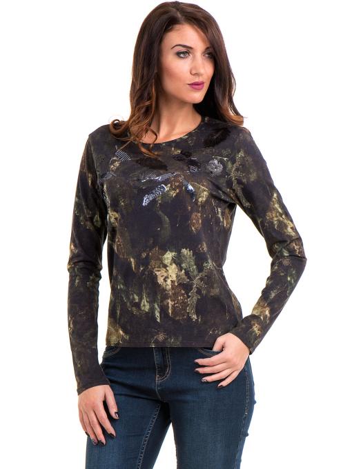 Дамска блуза с абстрактна шарка XINT 100 - цвят каки