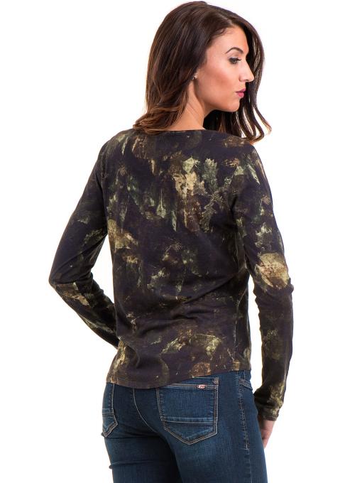 Дамска блуза с абстрактна шарка XINT 100 - цвят каки B