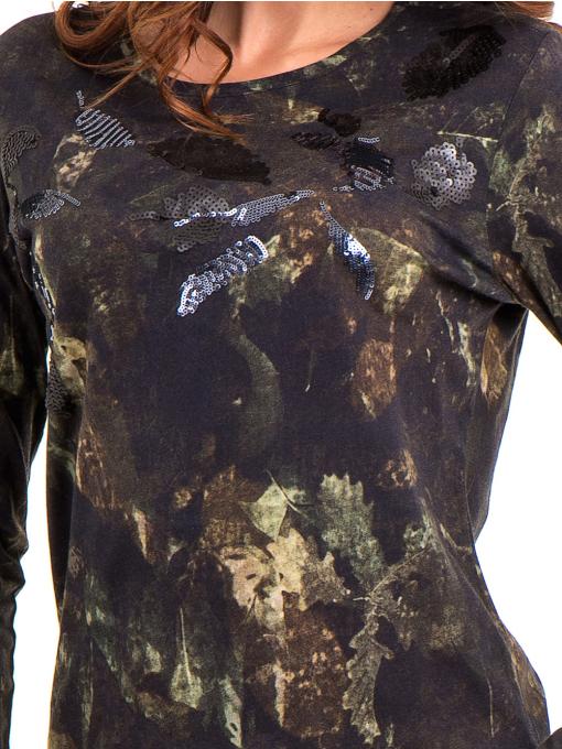 Дамска блуза с абстрактна шарка XINT 100 - цвят каки D