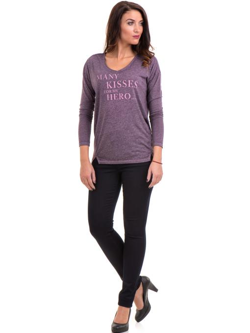 Дамска блуза свободен модел XINT 1111 - тъмно лилава C