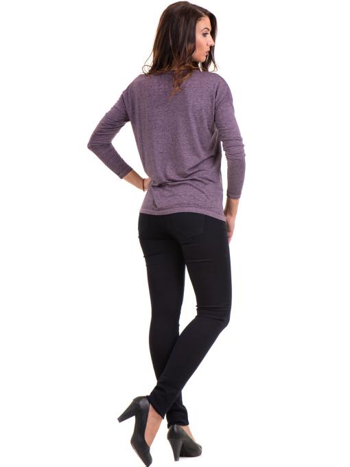 Дамска блуза свободен модел XINT 1111 - тъмно лилава E