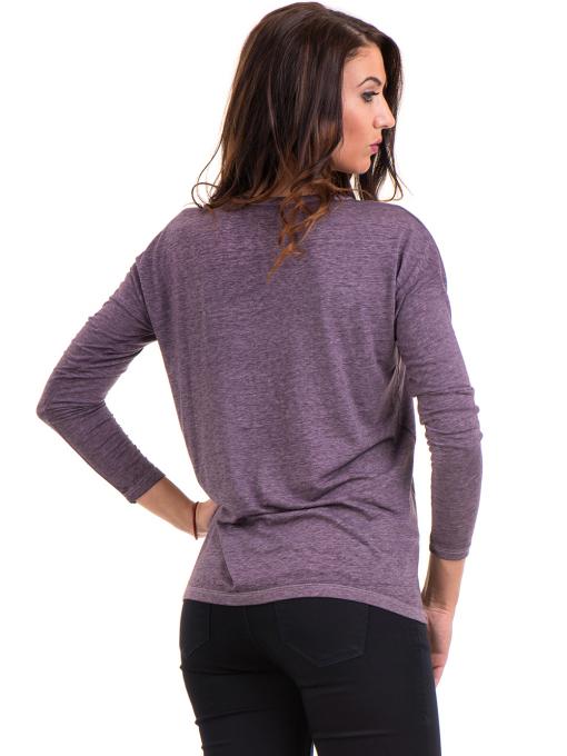 Дамска блуза свободен модел XINT 1111 - тъмно лилава B