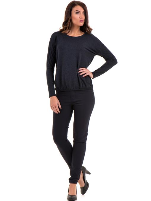 Дамска блуза с реглан ръкав XINT 1117 - тъмно синя C