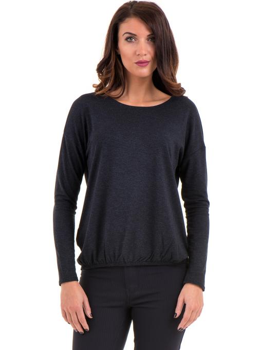 Дамска блуза с реглан ръкав XINT 1117 - тъмно синя