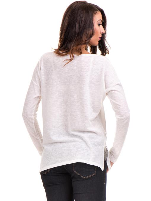 Дамска блуза с V-образно деколте XINT - цвят екрю B