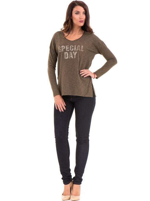 Дамска блуза с V-образно деколте XINT 116 - цвят каки C