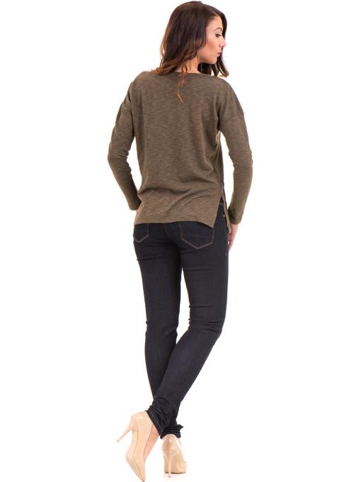 Дамска блуза с V-образно деколте XINT 116 - цвят каки E