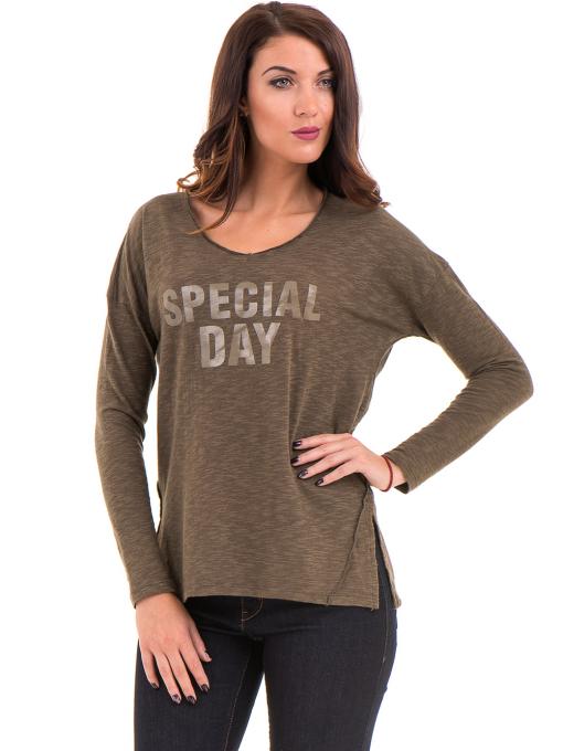 Дамска блуза с V-образно деколте XINT 116 - цвят каки