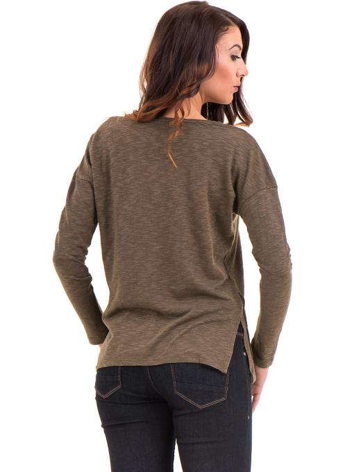 Дамска блуза с V-образно деколте XINT 116 - цвят каки B