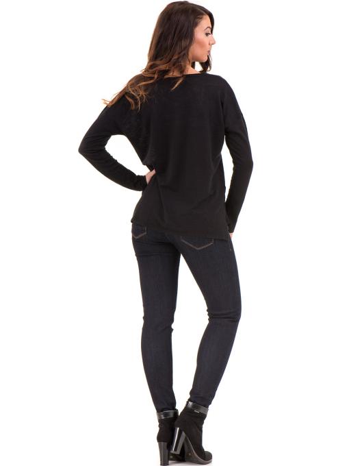 Дамска блуза с V-образно деколте XINT 116- черна E