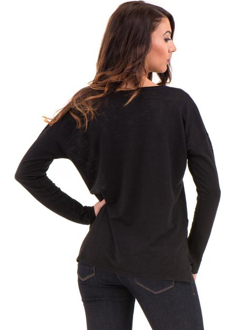 Дамска блуза с V-образно деколте XINT 116- черна B