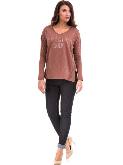 Дамска блуза с V-образно деколте XINT 116 - цвят керемида C