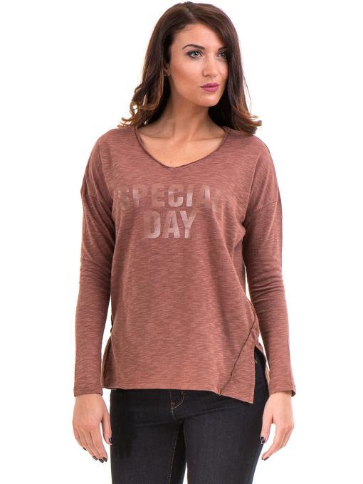 Дамска блуза с V-образно деколте XINT 116 - цвят керемида