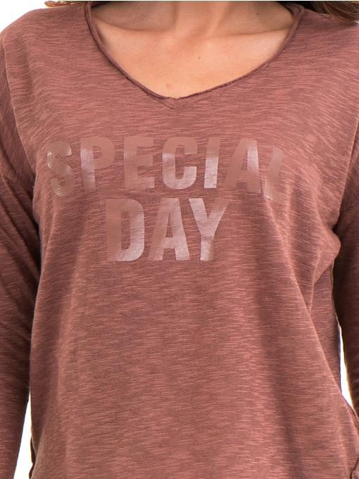 Дамска блуза с V-образно деколте XINT 116 - цвят керемида D