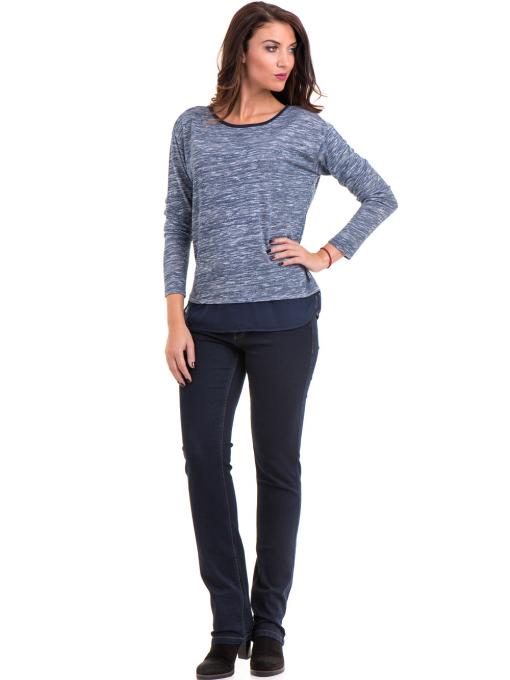 Дамска блуза с овално деколте XINT 118 - синя C