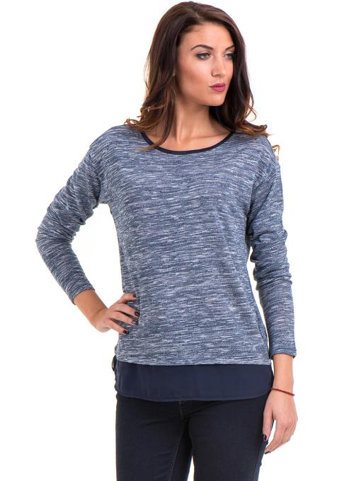 Дамска блуза с овално деколте XINT 118 - синя