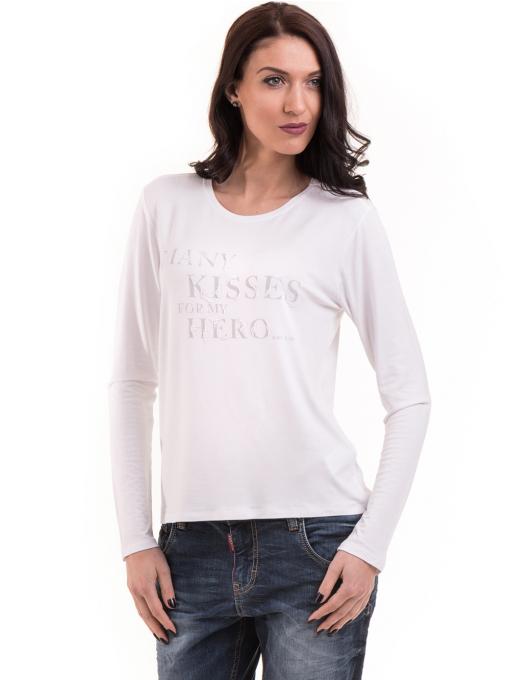 Дамска блуза с щампа XINT 142 - бяла