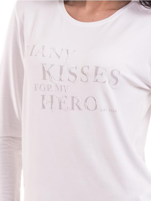Дамска блуза с щампа XINT 142 - бяла D