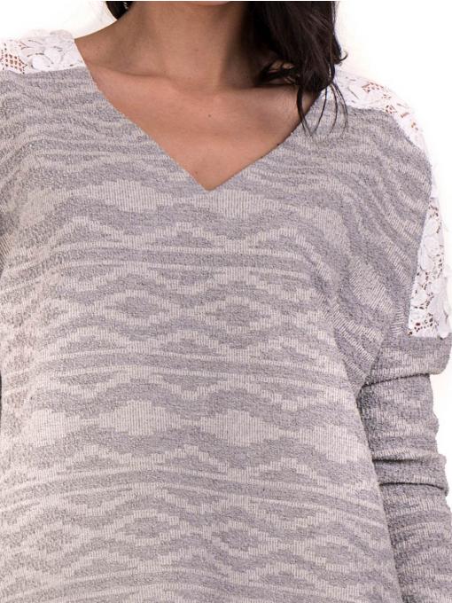 Дамска блуза с V-образно деколте XINT 145 - светло сива D
