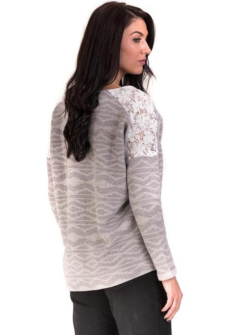 Дамска блуза с V-образно деколте XINT 145 - светло сива B