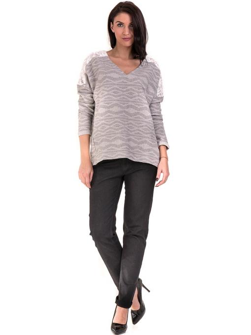 Дамска блуза с V-образно деколте XINT 145 - светло сива C