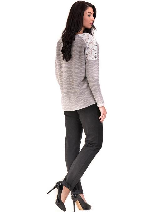 Дамска блуза с V-образно деколте XINT 145 - светло сива E