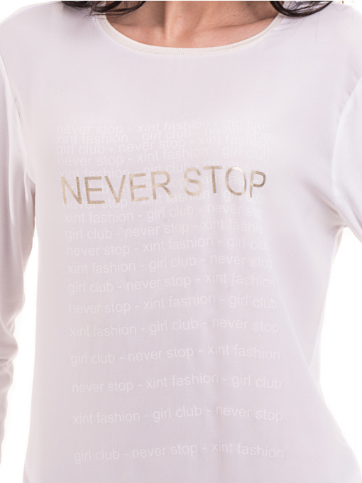 Дамска блуза с надпис XINT 146 - бяла D