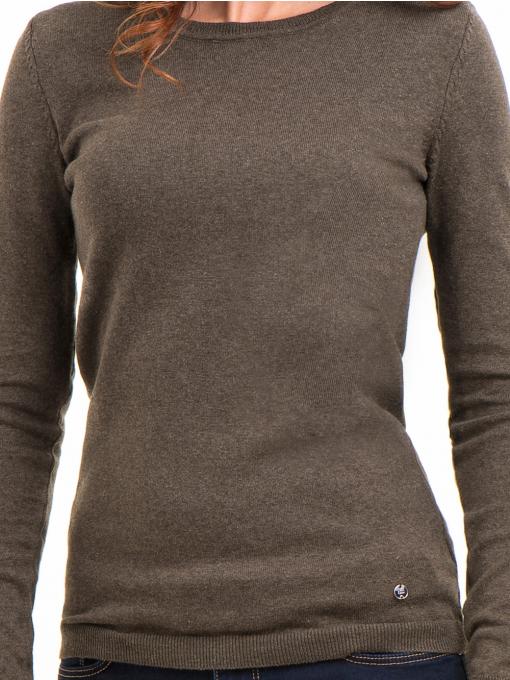 Дамска блуза с обло деколте XINT 148 - цвят каки D