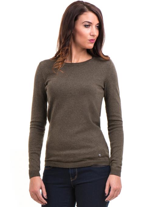 Дамска блуза с обло деколте XINT 148 - цвят каки
