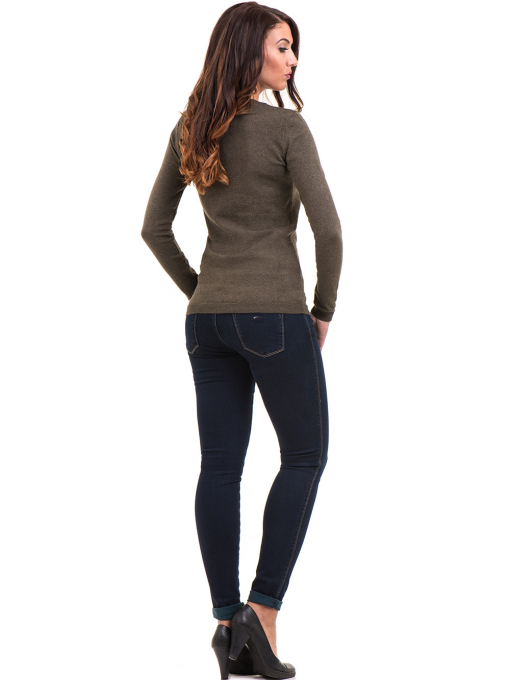 Дамска блуза с обло деколте XINT 148 - цвят каки E